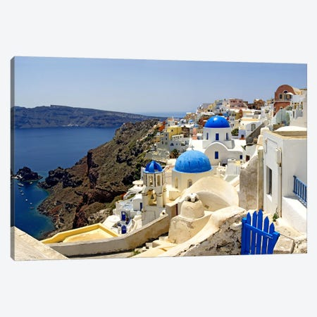 High angle view of a church, Oia, Santorini, Cyclades Islands, Greece Canvas Print #PIM6806} by Panoramic Images Canvas Print