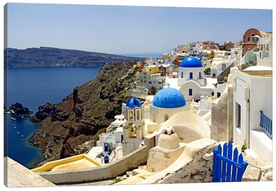 High angle view of a church, Oia, Santorini, Cyclades Islands, Greece Canvas Art Print