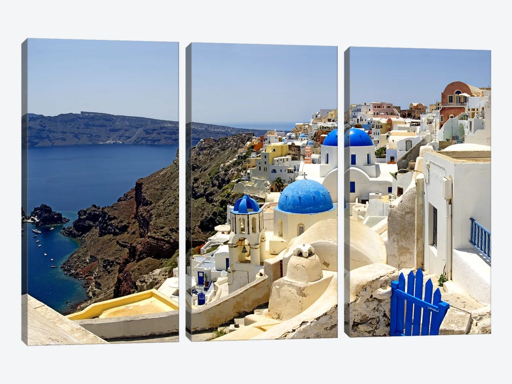 High angle view of a church, Oia, Santorini, Cyclades Islands, Greece by Panoramic Images 3-piece Canvas Art Print