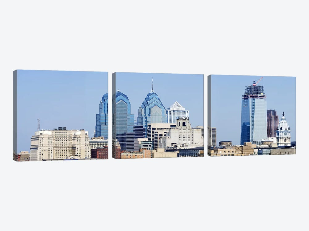 Skyscrapers in a city, Philadelphia, Philadelphia County, Pennsylvania, USA 3-piece Art Print