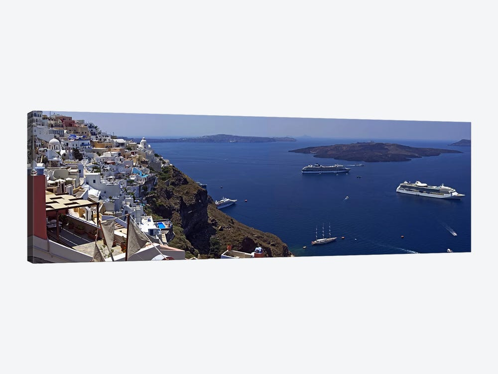 View Nea Kameni And Yachts In The Aegean Sea From Fira, Cyclades, Greece by Panoramic Images 1-piece Canvas Artwork