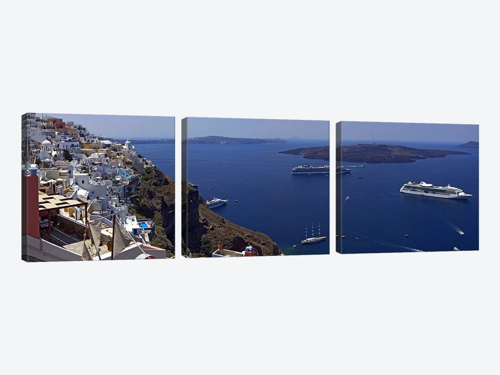 View Nea Kameni And Yachts In The Aegean Sea From Fira, Cyclades, Greece by Panoramic Images 3-piece Canvas Artwork
