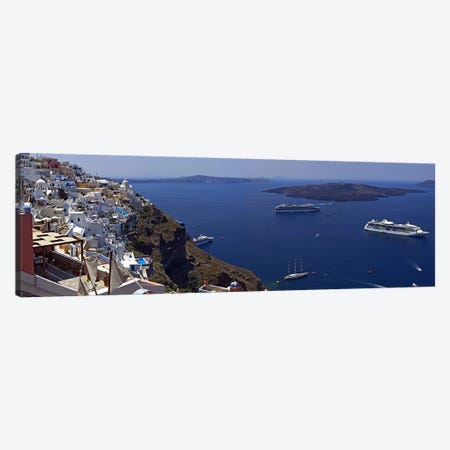 View Nea Kameni And Yachts In The Aegean Sea From Fira, Cyclades, Greece Canvas Print #PIM6809} by Panoramic Images Canvas Art