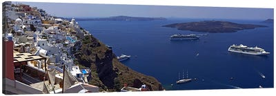 View Nea Kameni And Yachts In The Aegean Sea From Fira, Cyclades, Greece Canvas Art Print