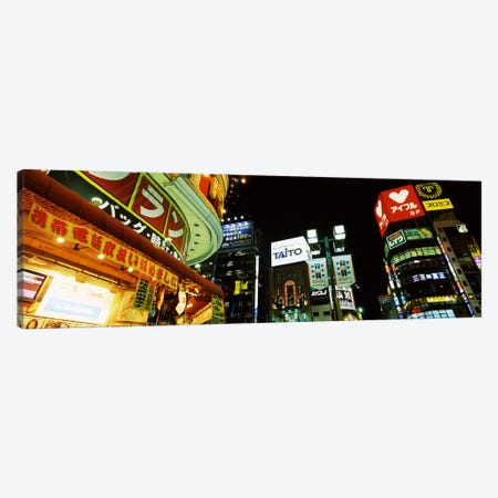 Illuminated Buildings At Night, Shinjuku Ward, Tokyo, Kanto Region, Honshu, Japan Canvas Print #PIM6819} by Panoramic Images Canvas Art Print