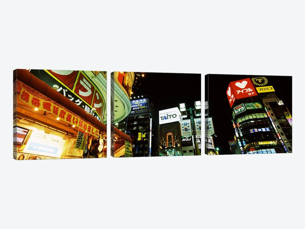 Illuminated Buildings At Night, Shinjuku Ward, Tokyo, Kanto Region, Honshu, Japan by Panoramic Images 3-piece Art Print