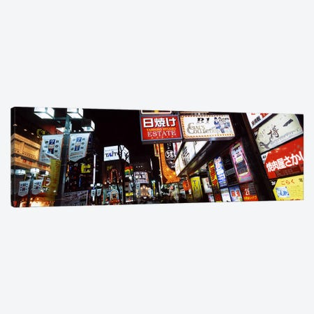 Illuminated Commercial Signboards, Shinjuku Ward, Tokyo, Kanto Region, Honshu, Japan Canvas Print #PIM6822} by Panoramic Images Canvas Wall Art