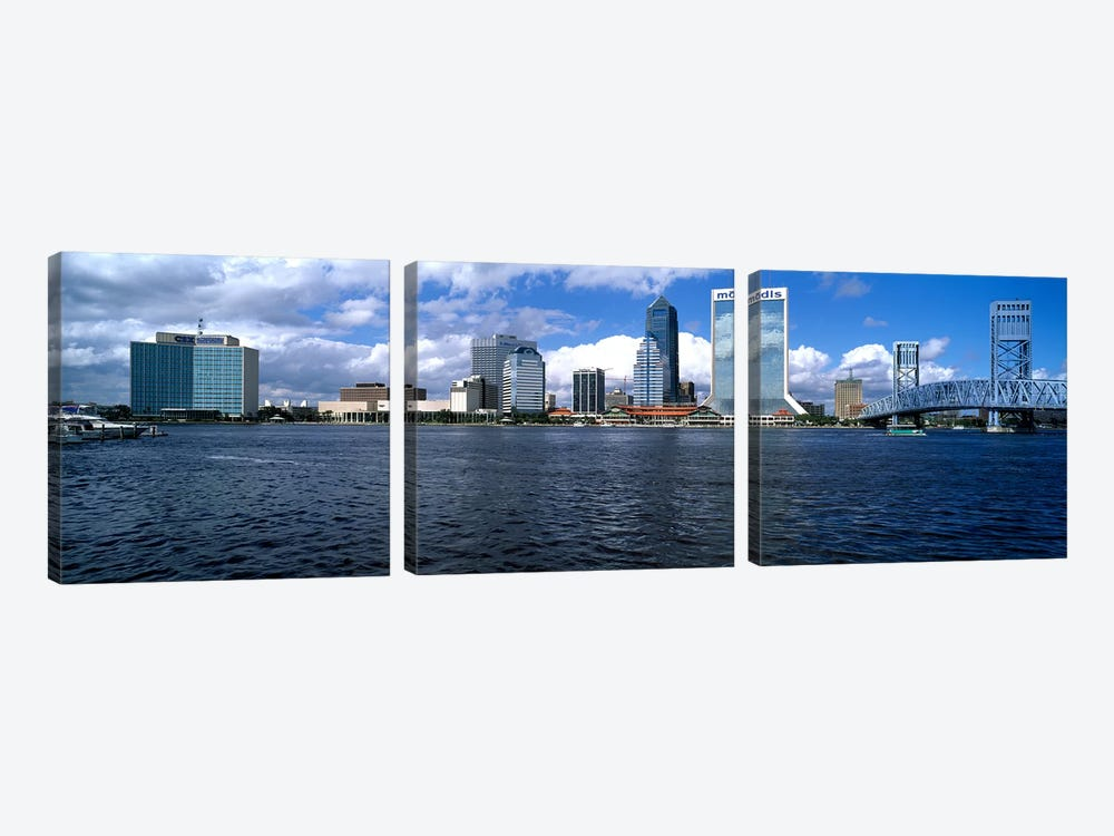 Buildings at the waterfront, St. John's River, Jacksonville, Duval County, Florida, USA by Panoramic Images 3-piece Canvas Art Print