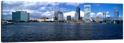 Buildings at the waterfront, St. John's River, Jacksonville, Duval County, Florida, USA Canvas Art Print