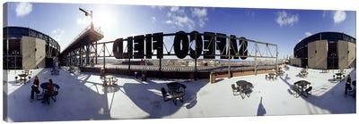 Tourist sitting on a roof outside a baseball stadium, Seattle, King County, Washington State, USA Canvas Print #PIM6833