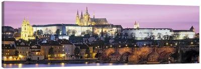 Arch bridge across a river, Charles Bridge, Hradcany Castle, St. Vitus Cathedral, Prague, Czech Republic Canvas Art Print