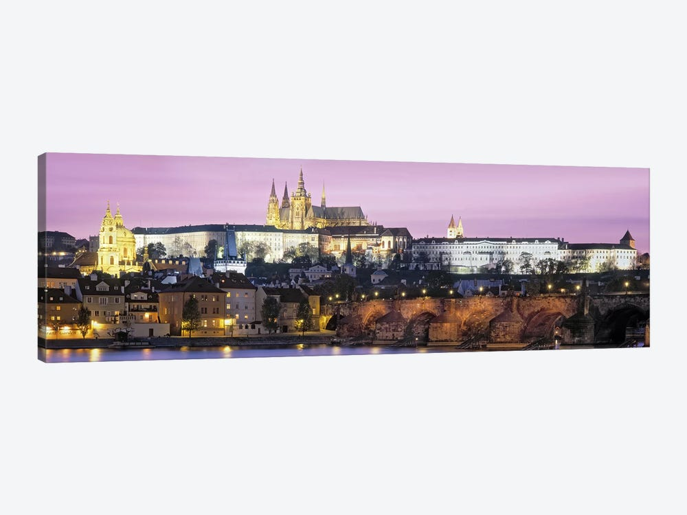 Arch bridge across a river, Charles Bridge, Hradcany Castle, St. Vitus Cathedral, Prague, Czech Republic by Panoramic Images 1-piece Canvas Art