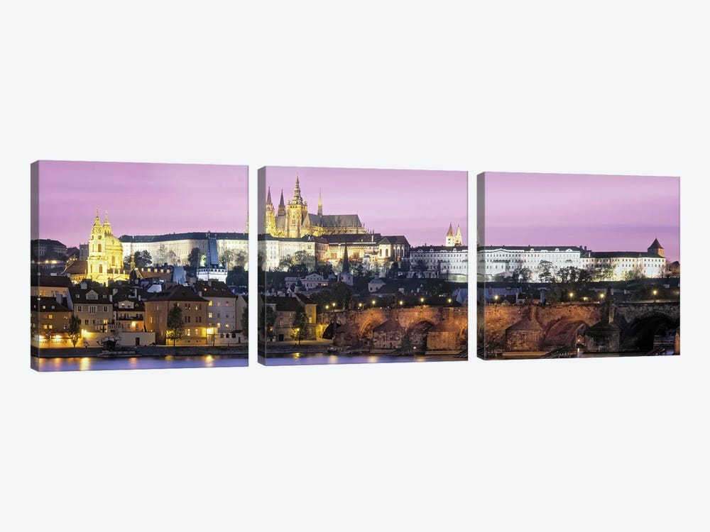 Arch bridge across a river, Charles Bridge, Hradcany Castle, St. Vitus Cathedral, Prague, Czech Republic by Panoramic Images 3-piece Canvas Wall Art