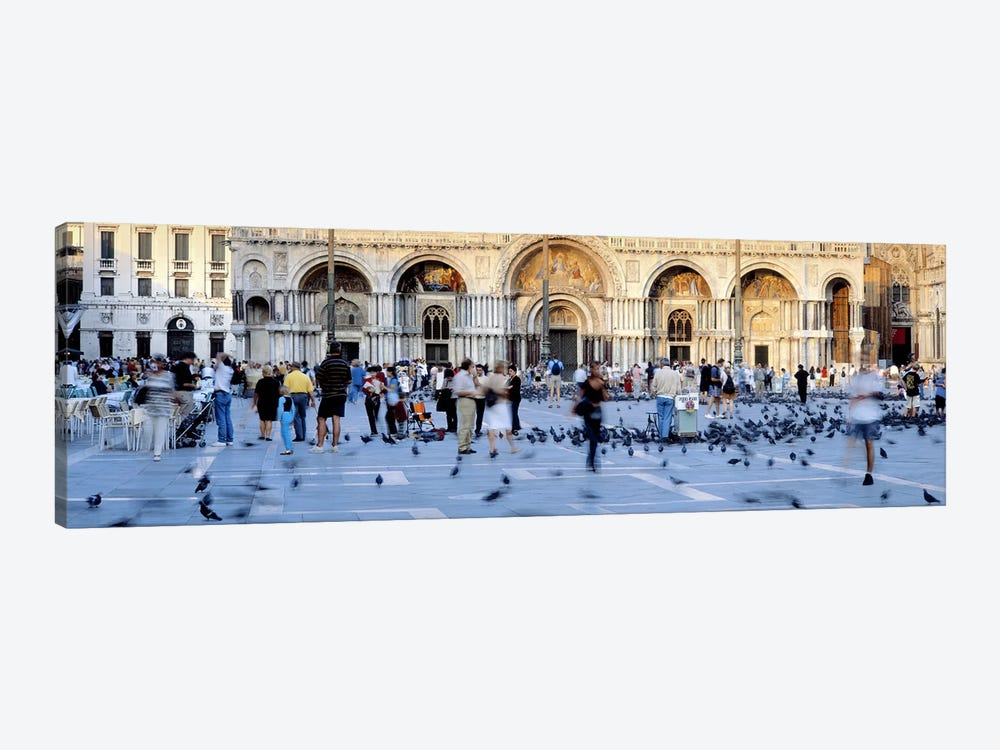 Tourists in front of a cathedral, St. Mark's Basilica, Piazza San Marco, Venice, Italy by Panoramic Images 1-piece Canvas Print