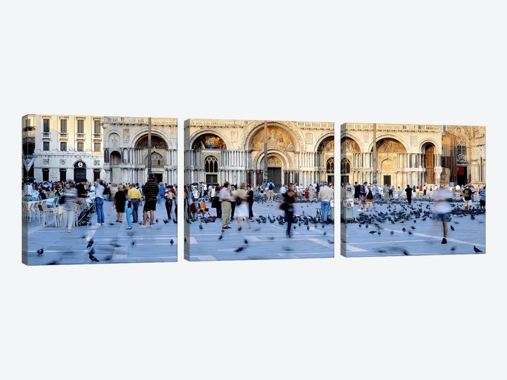 Tourists in front of a cathedral, St. Mark's Basilica, Piazza San Marco, Venice, Italy by Panoramic Images 3-piece Canvas Art Print