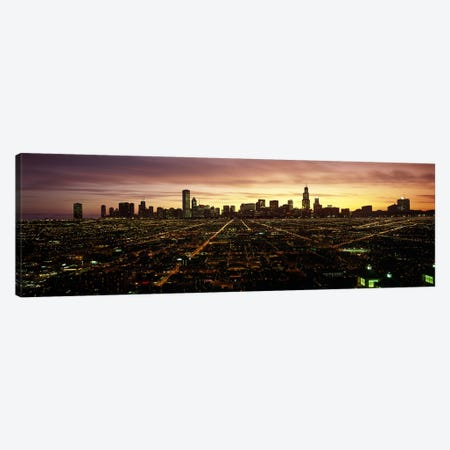 CGI composite, High angle view of a city at night, Chicago, Cook County, Illinois, USA Canvas Print #PIM6836} by Panoramic Images Canvas Wall Art