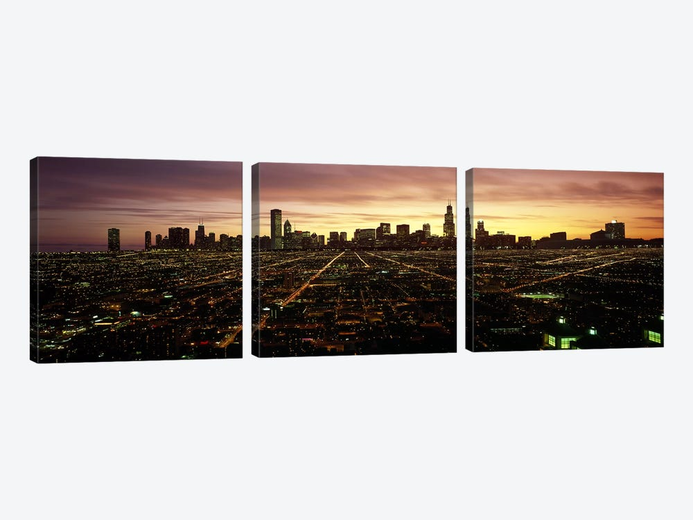 CGI composite, High angle view of a city at night, Chicago, Cook County, Illinois, USA by Panoramic Images 3-piece Canvas Art
