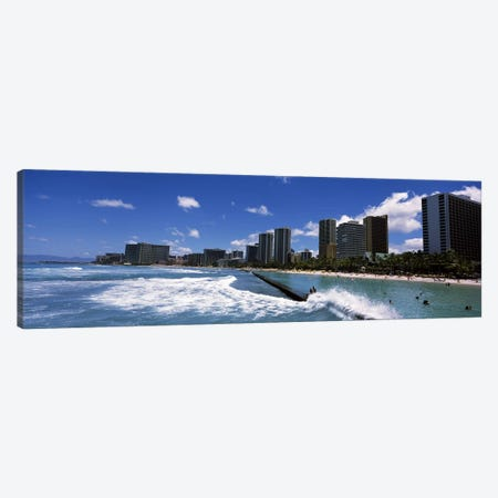 Buildings at the waterfront, Waikiki Beach, Honolulu, Oahu, Hawaii, USA Canvas Print #PIM6837} by Panoramic Images Canvas Art