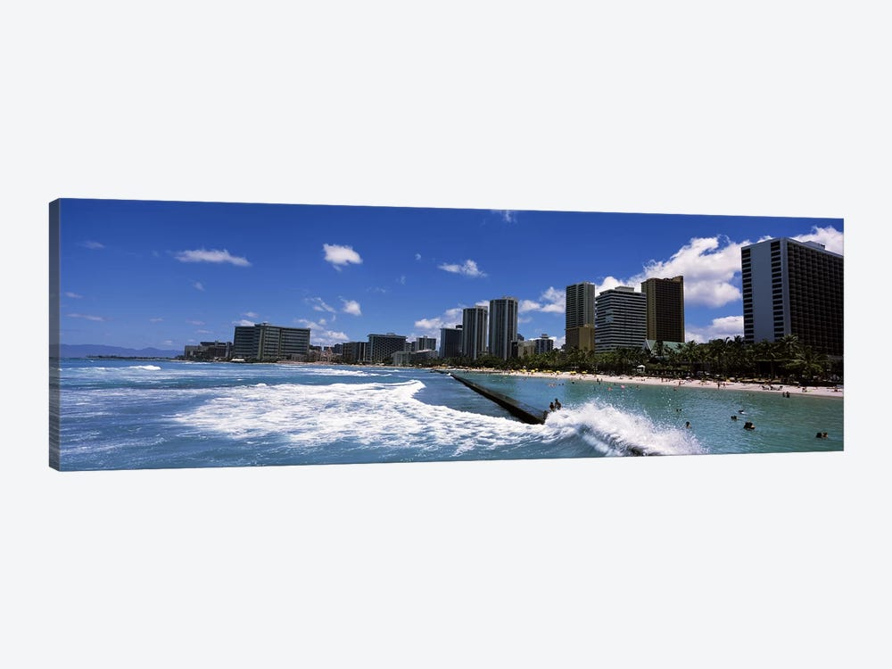 Buildings at the waterfront, Waikiki Beach, Honolulu, Oahu, Hawaii, USA by Panoramic Images 1-piece Art Print