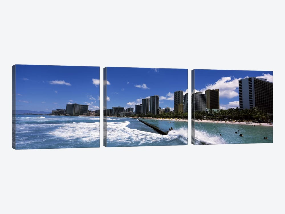 Buildings at the waterfront, Waikiki Beach, Honolulu, Oahu, Hawaii, USA by Panoramic Images 3-piece Canvas Art Print