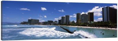 Buildings at the waterfront, Waikiki Beach, Honolulu, Oahu, Hawaii, USA Canvas Art Print