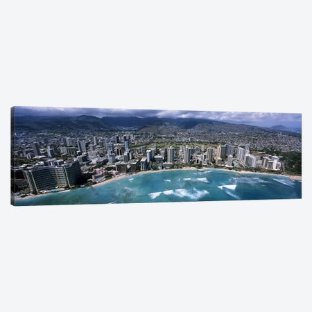 Aerial view of a city, Waikiki Beach, Honolulu, Oahu, Hawaii, USA Canvas Print #PIM6838} by Panoramic Images Canvas Print