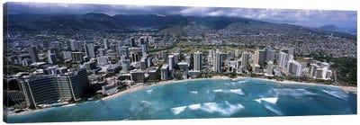 Aerial view of a city, Waikiki Beach, Honolulu, Oahu, Hawaii, USA Canvas Print #PIM6838
