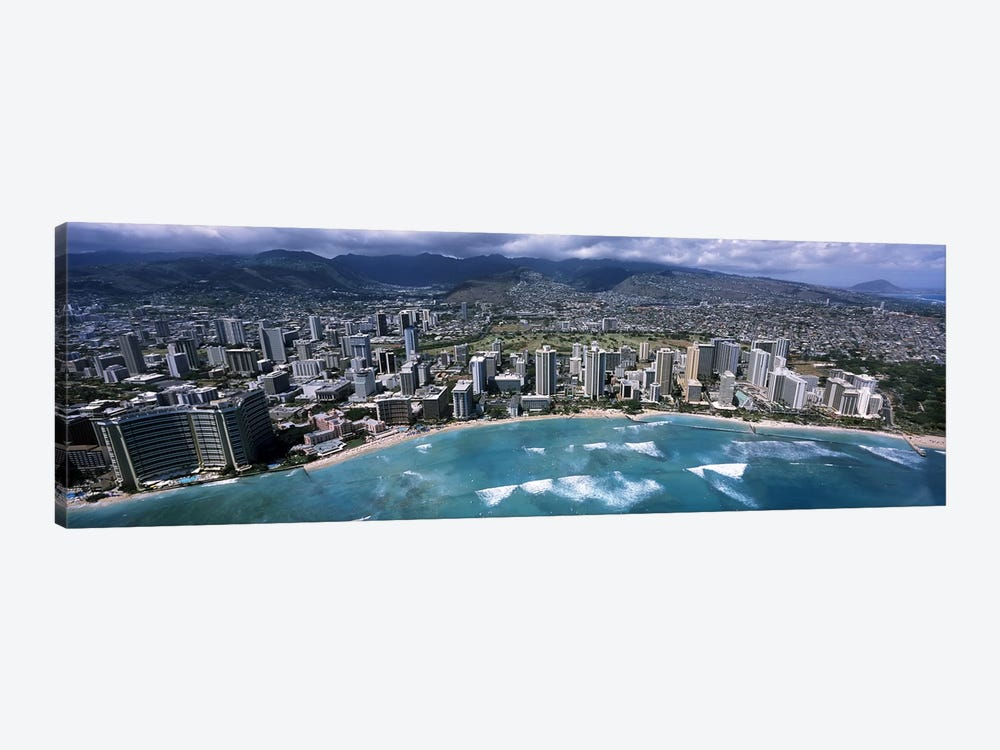 Aerial view of a city, Waikiki Beach, Honolulu, Oahu, Hawaii, USA by Panoramic Images 1-piece Canvas Art