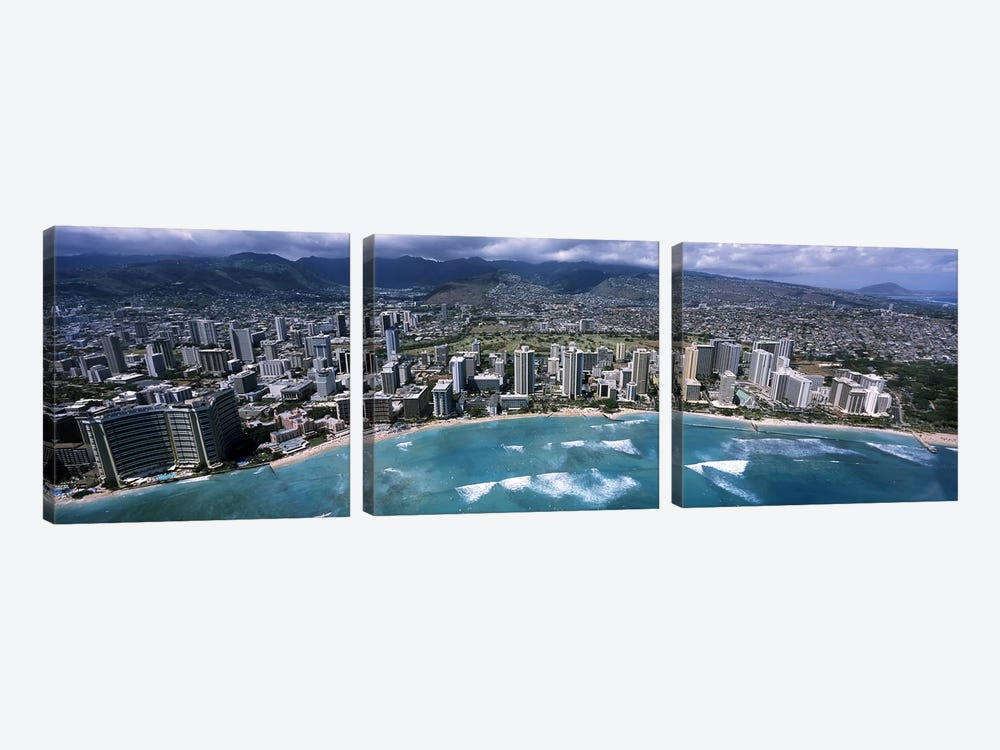 Aerial view of a city, Waikiki Beach, Honolulu, Oahu, Hawaii, USA by Panoramic Images 3-piece Canvas Artwork