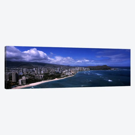 Buildings at the waterfront, Waikiki Beach, Honolulu, Oahu, Hawaii, USA #2 Canvas Print #PIM6839} by Panoramic Images Art Print