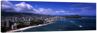 Buildings at the waterfront, Waikiki Beach, Honolulu, Oahu, Hawaii, USA #2 Canvas Print #PIM6839