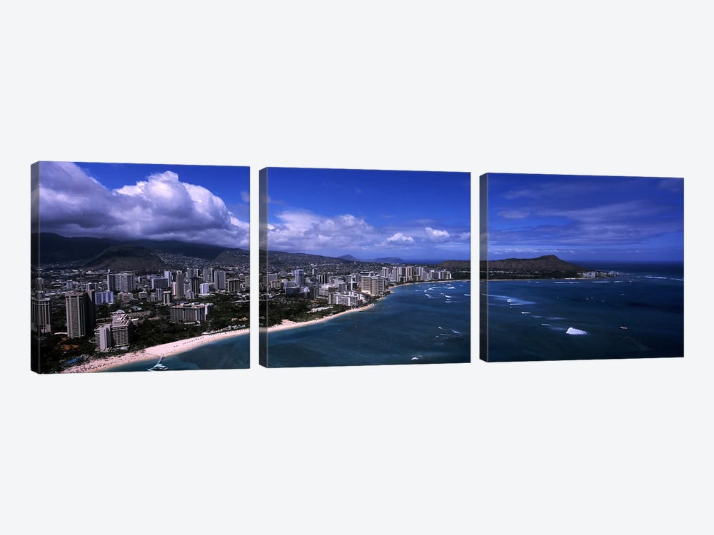 Buildings at the waterfront, Waikiki Beach, Honolulu, Oahu, Hawaii, USA #2 by Panoramic Images 3-piece Canvas Print
