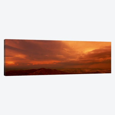 Stormy Orange Sunset Over Phoenix, Arizona, USA Canvas Print #PIM683} by Panoramic Images Canvas Artwork