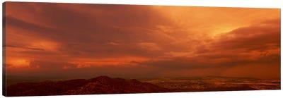 Stormy Orange Sunset Over Phoenix, Arizona, USA Canvas Art Print