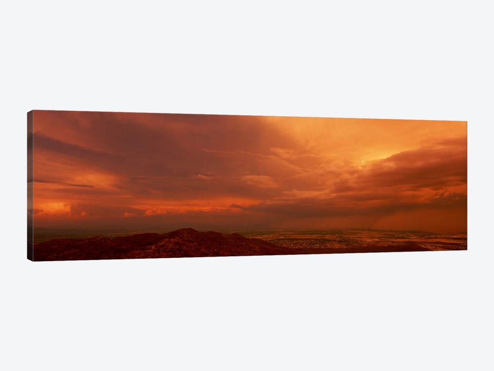 Stormy Orange Sunset Over Phoenix, Arizona, USA by Panoramic Images 1-piece Art Print