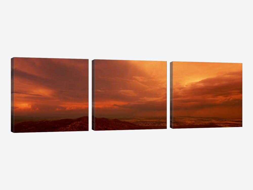 Stormy Orange Sunset Over Phoenix, Arizona, USA by Panoramic Images 3-piece Art Print