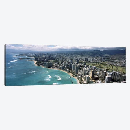 Aerial view of buildings at the waterfront, Waikiki Beach, Honolulu, Oahu, Hawaii, USA Canvas Print #PIM6840} by Panoramic Images Canvas Wall Art