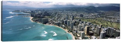 Aerial view of buildings at the waterfront, Waikiki Beach, Honolulu, Oahu, Hawaii, USA Canvas Art Print