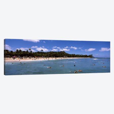 Tourists on the beach, Waikiki Beach, Honolulu, Oahu, Hawaii, USA Canvas Print #PIM6841} by Panoramic Images Canvas Artwork