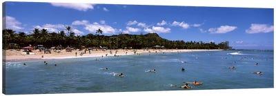 Tourists on the beach, Waikiki Beach, Honolulu, Oahu, Hawaii, USA Canvas Print #PIM6841