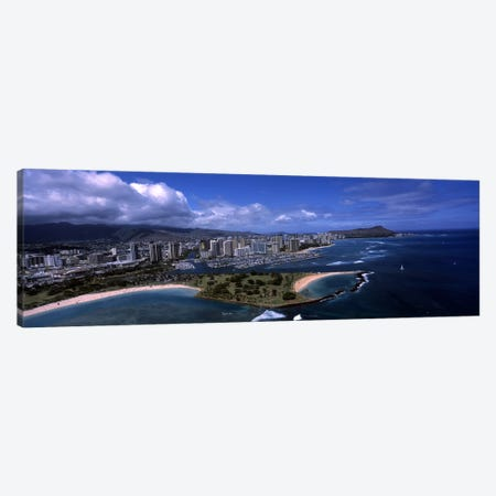 Aerial view of buildings at the waterfront, Ala Moana Beach Park, Waikiki Beach, Honolulu, Oahu, Hawaii, USA Canvas Print #PIM6842} by Panoramic Images Canvas Artwork