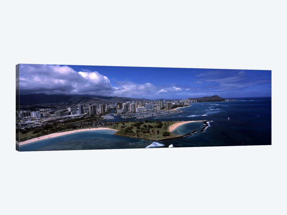 Aerial view of buildings at the waterfront, Ala Moana Beach Park, Waikiki Beach, Honolulu, Oahu, Hawaii, USA by Panoramic Images 1-piece Art Print