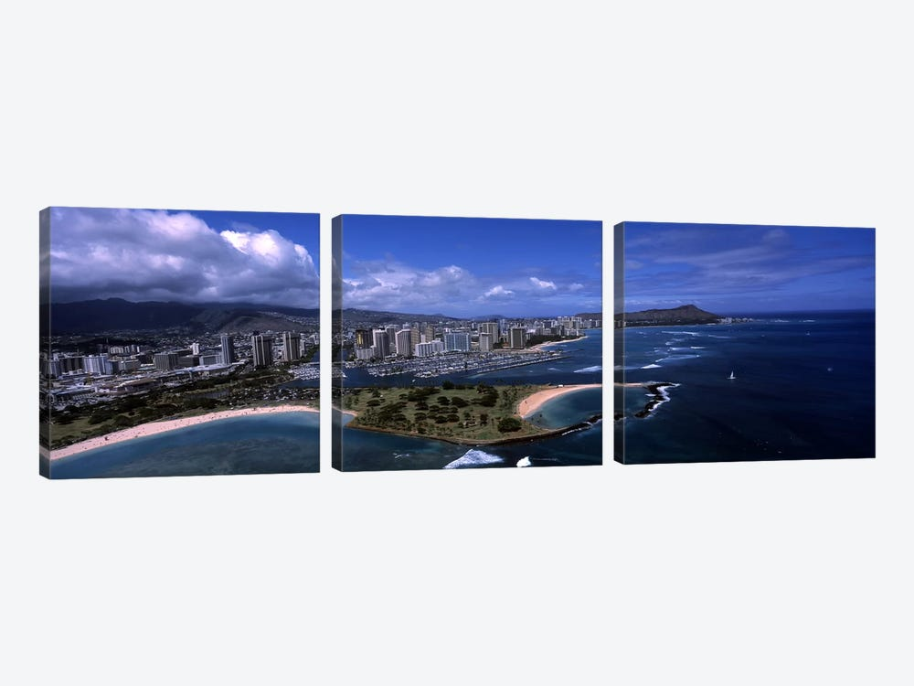Aerial view of buildings at the waterfront, Ala Moana Beach Park, Waikiki Beach, Honolulu, Oahu, Hawaii, USA by Panoramic Images 3-piece Canvas Print