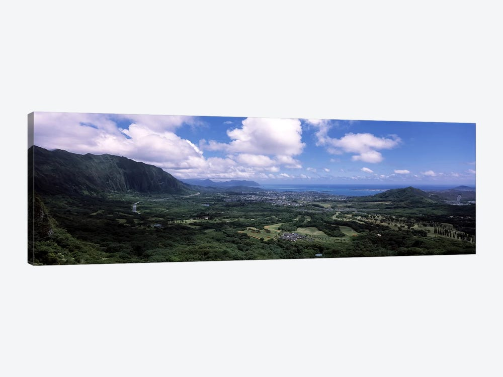 View Of Kaneohe Bay Area From Nu'uanu Pali Lookout, Oahu, Hawaii, USA by Panoramic Images 1-piece Canvas Art