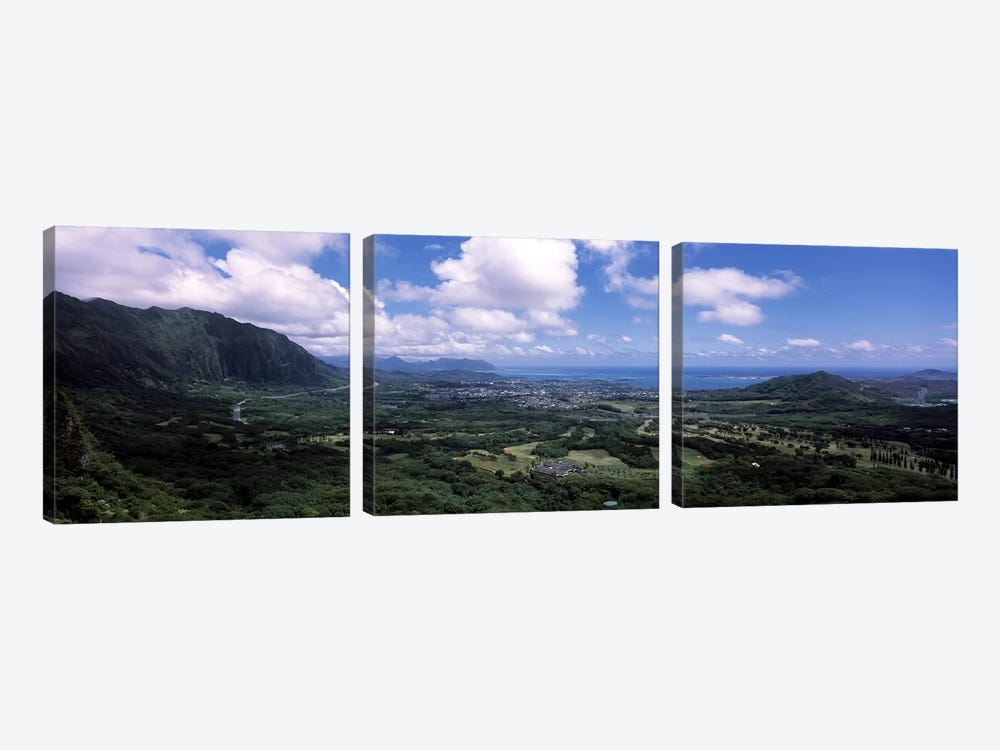 View Of Kaneohe Bay Area From Nu'uanu Pali Lookout, Oahu, Hawaii, USA by Panoramic Images 3-piece Canvas Artwork