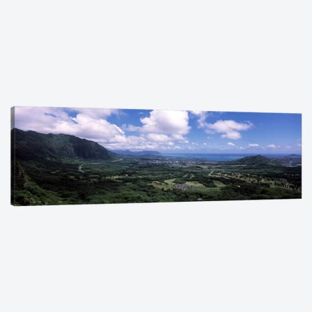 View Of Kaneohe Bay Area From Nu'uanu Pali Lookout, Oahu, Hawaii, USA Canvas Print #PIM6843} by Panoramic Images Canvas Wall Art