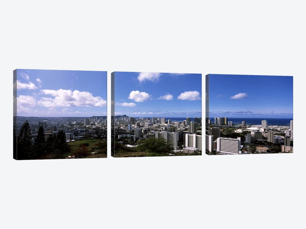 High angle view of a cityscape, Honolulu, Oahu, Hawaii, USA #3 by Panoramic Images 3-piece Canvas Art Print
