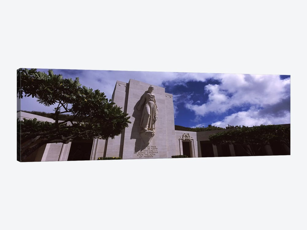 Low angle view of a statue, National Memorial Cemetery of the Pacific, Punchbowl Crater, Honolulu, Oahu, Hawaii, USA 1-piece Canvas Art