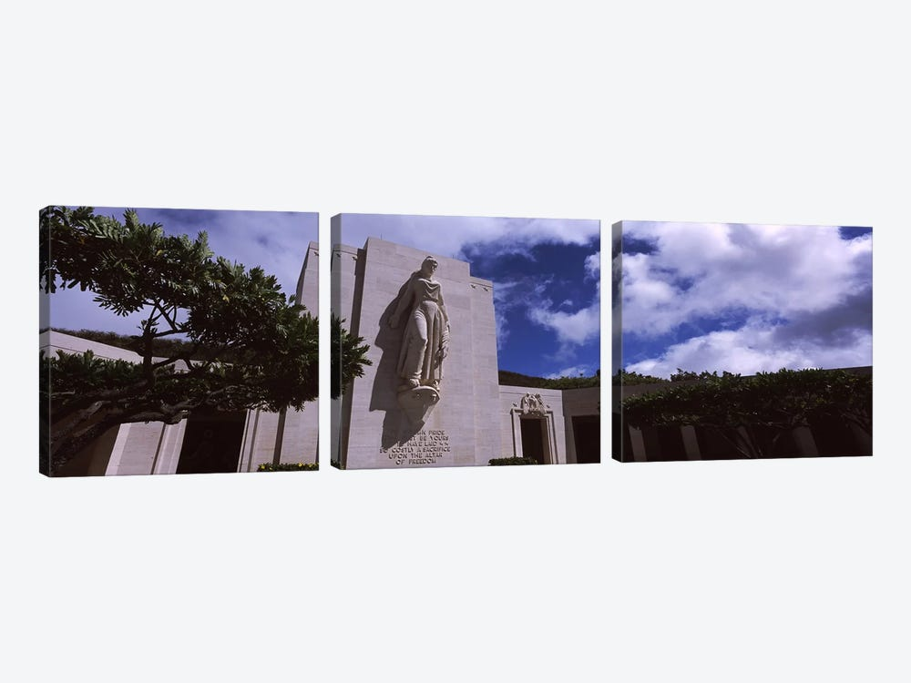 Low angle view of a statue, National Memorial Cemetery of the Pacific, Punchbowl Crater, Honolulu, Oahu, Hawaii, USA 3-piece Canvas Wall Art