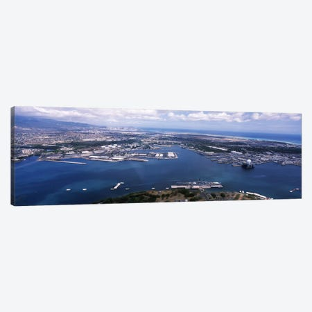Aerial view of a harbor, Pearl Harbor, Honolulu, Oahu, Hawaii, USA Canvas Print #PIM6850} by Panoramic Images Canvas Art Print